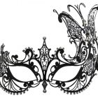 Metal Filigree Masquerade Mask with Large Butterfly