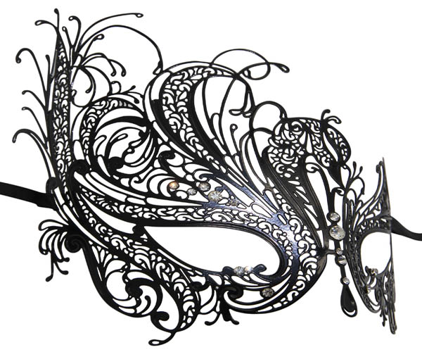 Metal Filigree Swan Masquerade Mask