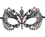 Metal Filigree Fine Masquerade Mask with Red Crystals