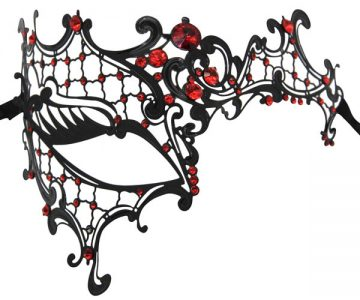 Metal Filigree Phantom Masquerade Mask with Red Crystals