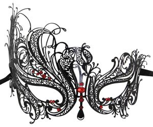 Metal Filigree Swan Masquerade Mask with Red Crystals