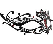 Metal Filigree Lotus Masquerade Mask with Red Crystals