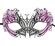 Metal Butterfly Filigree Masquerade Mask with Purple Glitter