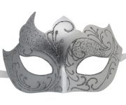 White and Silver Masquerade Mask with Glitter