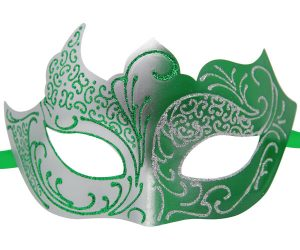 Silver and Green Masquerade Mask with Glitter