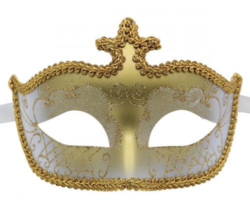 White and Gold Masquerade Mask with Gold Trim