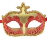 Red and Gold Masquerade Mask with Gold Trim
