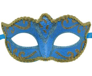 Classic Aqua Blue And Gold Venetian Mask