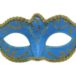 Classic Aqua Blue And Gold Venetian Mask