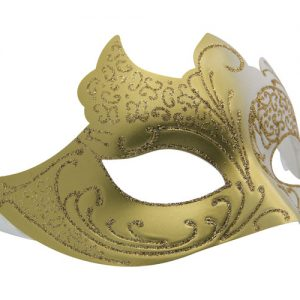 Gold and White Masquerade Mask with Glitter