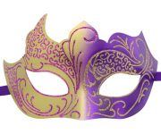 Gold and Purple Masquerade Mask with Glitter