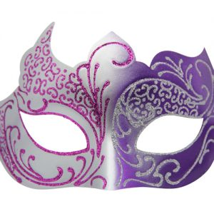 Purple and Silver Masquerade Mask with Glitter