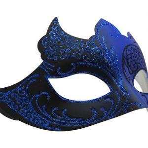 Blue and Black Masquerade Mask with Glitter