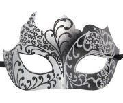Silver and Black Masquerade Mask with Glitter