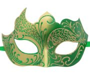 Gold and Green Masquerade Mask with Glitter