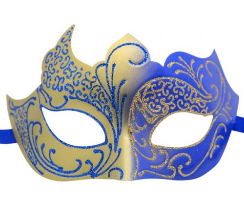 Gold and Blue Masquerade Mask with Glitter