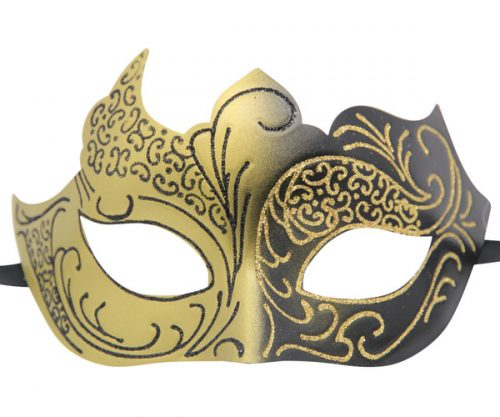 Black and Gold Masquerade Mask with Glitter