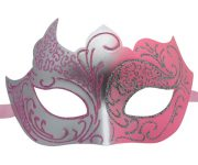 Silver and Pink Masquerade Mask with Glitter
