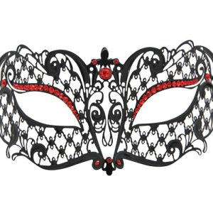 Metal Filigree Masquerade Mask with Red Eye Detailing Crystals