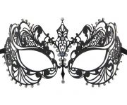 Metal Filigree Masquerade Mask with Tear Drop Crystals