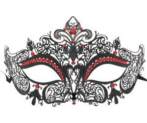 Metal Filigree Masquerade Mask with Red Crystals