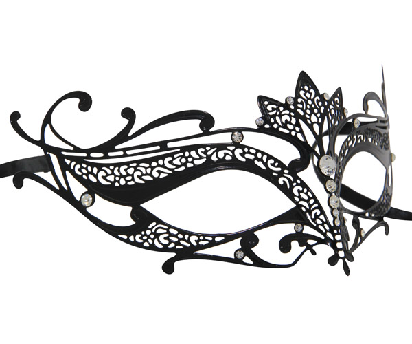 Metal Filigree Masquerade Mask with Lotus Flower Detail