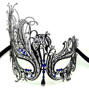 Metal Filigree Swan Masquerade Mask with Blue Crystals