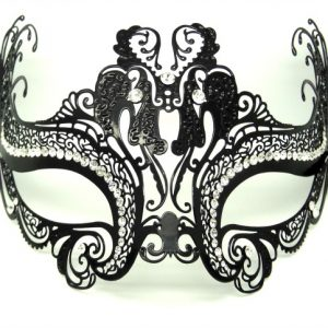 Metal Filigree Twin Butterfly Masquerade Mask