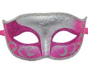 Venetian Silver and Hot Pink Masquerade Mask