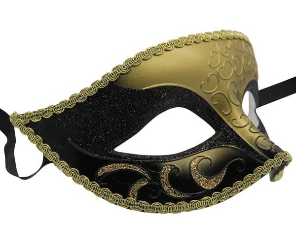 Venetian Black and Gold Masquerade Mask