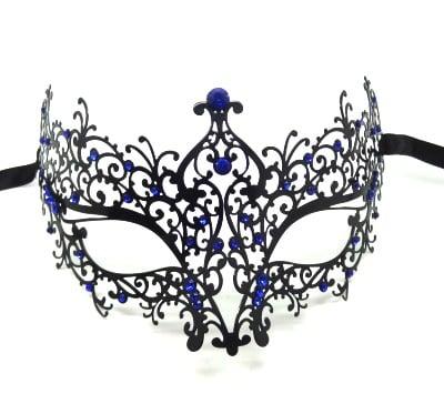 Black Metal Filigree Swirl Mask with Blue Crystals
