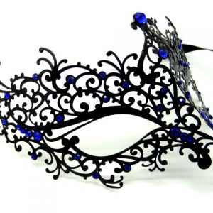 Black Metal Filigree Swirl Mask with Blue Crystals