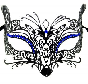 Metal Filigree Mask Fox with Blue Crystals