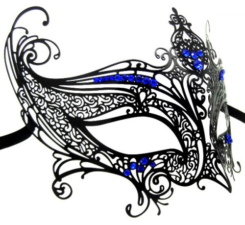 Metal Filigree High Point Masquerade Mask with Blue Crystals