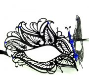 Metal Butterfly Filigree Masquerade Mask with Blue Crystals