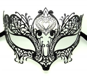 Metal Filigree High Point Heart Masquerade Mask