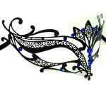 Metal Filigree Lotus Masquerade Mask with Blue Crystals