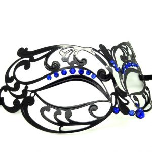 Metal Filigree Masquerade Mask with Blue Crystals