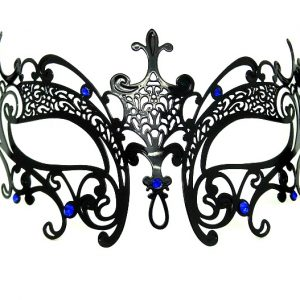 Metal Carved Filigree Masquerade Mask with Blue Crystals