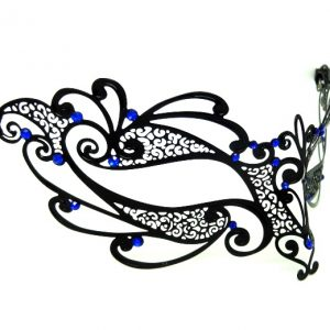Metal Flourish Filigree Masquerade Mask with Blue Crystals