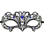 Metal Wave Filigree Masquerade Mask with Blue Crystals