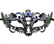 Metal Filigree Petite Swirl Masquerade Mask with Blue Crystals