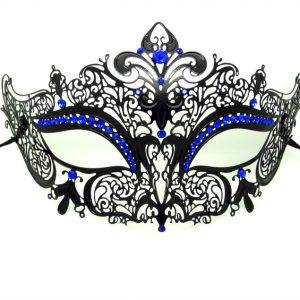 Metal Filigree Crown Masquerade Mask with Blue Crystals