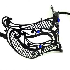 Metal Filigree Crosshatch Masquerade Mask with Blue Crystals