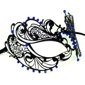 Metal Filigree Masquerade Mask with Blue Tear Drop Crystals