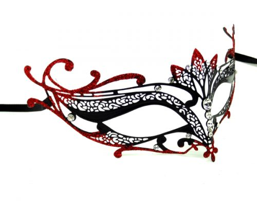 Metal Filigree Mask with Red Glitter