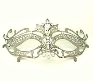 Silver Metal Filigree Lotus Masquerade Mask