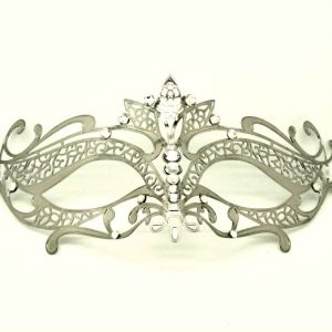 Silver Metal Filigree Lotus Masquerade Mask