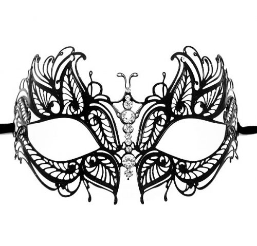 Metal Butterfly Filigree Masquerade Mask with Crystals