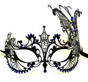 Large Butterfly Metal Filigree Masquerade Mask with Blue Crystals
